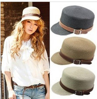Wholesale Women s Leather Straw Hat Fashion Knight hat Equestrian cap Summer Beach Straw Hat