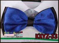 Wholesale KXYZ dark blue Solid color double layer New Novelty Men s Unique Tuxedo Bowtie Bow Tie Necktie