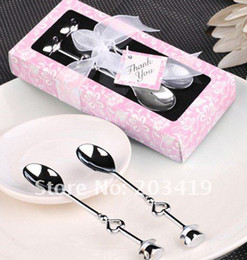Wholesale in1 Heart Shaped Love coffee tea measuring Spoon Wedding lover Favors gift stainless