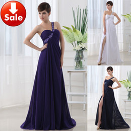 Wholesale Cheap One shoulder Front Slit Blue Purple White Beads Chiffon Long Prom dresses Evening dresses