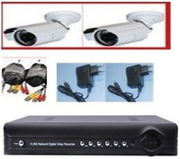 Cheap 4CH DVR Kit with 2PCS 600TVL cmos Waterproof IR Cameras, High Resolution 4CH Camera Kit for DIY CCTV
