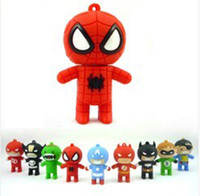 Wholesale Carton USB Flash Disk Memory Stick Driver The Avengers Series Spiderman Superman Flash GB