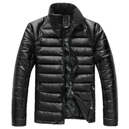 Wholesale Waterproof Men s Slim Fit Fashion Comfortable Duck Down PU leather Coats Jackets Outerwear Colors