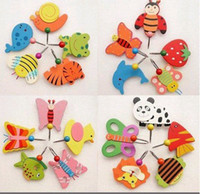 Wholesale Cute Cartoon Wooden Animal Robe Home Wall Hanging Hook Hanger Creative Gifts