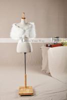 Wholesale 2014 New Faux Long Fur Ivory Bridal Shawl Wrap Shrug Stole Cape Fur Balls Wedding Accessory PJ002