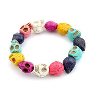 Wholesale 24pcs mixed colors skull stretch bracelets colorful Multicolor Turquoise Skull Strand Bracelets