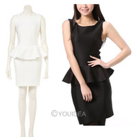 Wholesale 1pc Sexy Lady s OL Dress White Black Suit Sleeveless Frill Peplum Tops Bodycon Pencil Skirts New