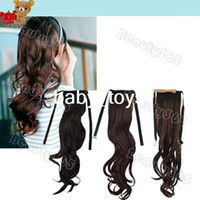 Wholesale Women Lady Long Wavy Curly Ponytail Pony Hair Extensions Black Brown
