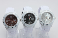 al por mayor cara multicolor reloj blanco-Unisex 43MM jalea reloj del calendario con bandas blancas Colores Caras de caramelo de silicona Fecha Relojes 50pcs / lot