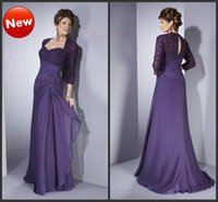 Wholesale Sheath Sweetheart Fold Applique Beaded Floor Length Lace Jacket Chiffon Mother of Bride Dresses