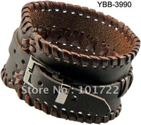 Wholesale Fashion Leather Bangle Men s Leather Cuff Bracelet Real Cow Leather quality