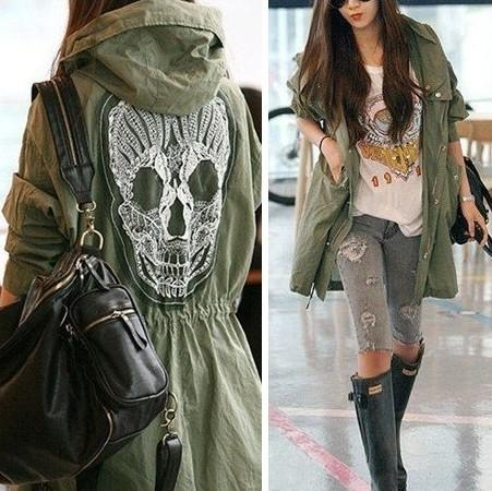 Fashion Skull Back Women Hooded Coat Military Jacket Outerwear Tops Blazer From Worldfactory, $20.27 | Dhgate.Com