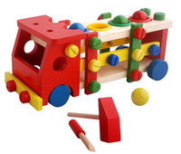 Wholesale Hot sale educational wooden toy disassembly assembly screw vehicle nut car knock balls baby toy