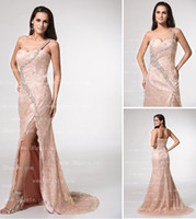 prom dresses 2012 - 2012 New Sexy One Shoulder Prom Dresses Lace Summer Beaded Split Evening Dresses E1117