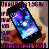 GSM850 Quad-Band English SmartPhone Ultrathin ZTE V985 4.5 Inch Quad Core 1.5GHz IPS Screen 1G RAM 4GB Android 4.0with 3G GPS