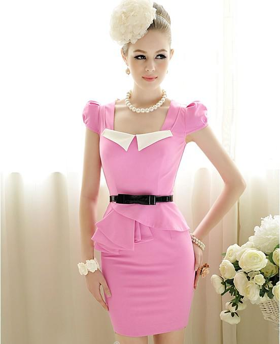 2013 Spring Fashion Women Casual Dress Rose Slim Skinny Sweet White    Fashion Casual Dress 2013