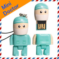4GB 8GB 16GB Real Capacity Robot USB Drive in Mini Blue Doct...