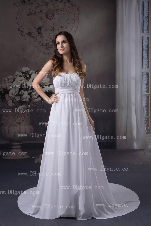 White Empire Wedding Dresses Strapless Pleated Surplice Bodice With Band Ruffle Beach Bride