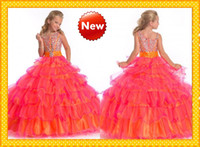 balls gold tone - 2016 Glitter Bling Crystal Beads Irregular Neck Ruched Two Toned Flower Girls Dresses Girl Pageant Dresses Girl TuTu Formal Gowns HOT