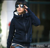 Wholesale women hoodies thin top pullover stand collar zipper design ladies shirts low price o