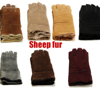 Wholesale Winter warm Mittens suede leather fur gloves for men colors choices send with original box mixed