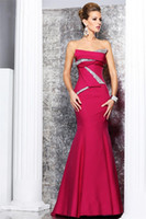 Wholesale 2013 New Sexy Strapless Fushcia Satin Mermaid Beaded Ruffles Evening Dresses