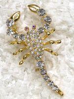american scorpion - C316 A2 Clear Crystal Rhinestone Gold Plated Scorpion Fashion Costume Pin Brooch