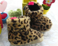 Wholesale Fashion Girls Leopard Print Fur Boots Infant Snow Boots Baby First Walker Shoes Toddler Casual Shoes