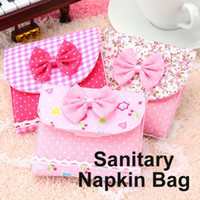 Canvas Women  100 pcs lot Sanitary Napkins Cotton Pouch Case Bag Pad Purse Holder Organizer Girl's Secret #1553