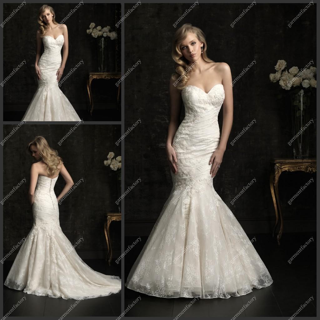 Mermaid Sweetheart Neckline Bridal Gowns Chapel Train Lace