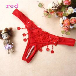 Wholesale 9633 Sexy panties pearl open crotch sexy thong red black white rose red pink Purple