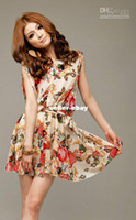 Wholesale dresses New Mosaic decorative pattern belt flowers snow spins color Dress RG12070