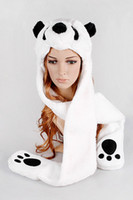 Wholesale Plush Animal Panda Hat Scarf Paws For Adults pack Free