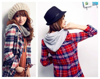 Wholesale free shopping autumn and winter alibaba express hot selling women hoodies long sleeve plaid casual b
