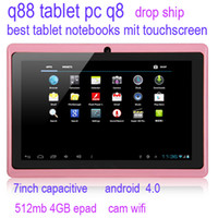 Allwinner 7 inch A13 q88 tablet pc q8 best tablet notebooks mit touchscreen 7''superpad android 512mb 4GB epad drop ship