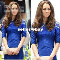 Wholesale 2012 Kate Middleton royal Embroidery lace OL Party Dress Celebrity Dress Women s Evening Dress blue