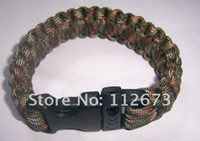 Wholesale NEW Plastic Whistle Buckle Spec Paracord Parachute Cord Lanyard Military Survival Bracelet