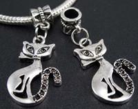 antique cats - MIC Antique Silver Diamante set Slim Lady Cat Metal Big Hole Beads Dangle x36 mm Fit European Charm Bracelets B1160