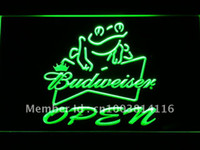 Wholesale 034 g Budweiser Frog Beer OPEN Bar Neon Light Sign