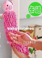 Wholesale retail Microfiber car cleaning towel Wash cloth good helper Hand Towel cartoon hanging hoo