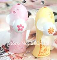 Wholesale PC Mini cherry flower nice Portable air fan Battery Cartoon Pattern Summer Electric