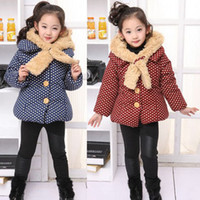 Girl 3-7years  100 110 120 130 2013 Hot New baby polka dotted hoody parkas winter thick jackets girl's hooded coat with fur cap