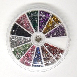 Wholesale Colors rotundity Glitter Rhinestones Wheel Nail art Decoration Nail art Rhinestone G