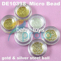 Wholesale Freeshipping sets Gold Silver Steel Circle Bead Decoration D Micro Beads Caviar Nail Art Drop