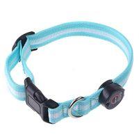 Wholesale 4pcs Nylon LED Dog Pet Flashing Light Up Safety Collar Blue free ship