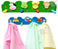 Wholesale CHILDS WOODEN COAT CLOTHES HOOKS HOOK WALL HANGER RACK BABY CARTOON WOODEN B