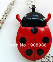 Wholesale Fashion watches Red Ladybug Necklace Pendant WatchesKeychain Clock