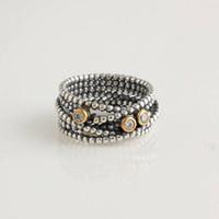 Wholesale Promise Engagement Rings Etemity Brown Gemstone Sterling Silver European Style Jewelry RIP006