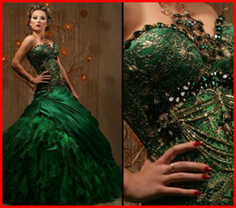 Wholesale Hotsale Dark Green Ball Gown Sweetheart Floor Length Organza Beaded Sequins Sleeveless Prom Dresses