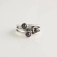 Wholesale Unique Promise Engagement Ring Etemity Sterling Silver Black Pearl European Style Jewelry RIP010